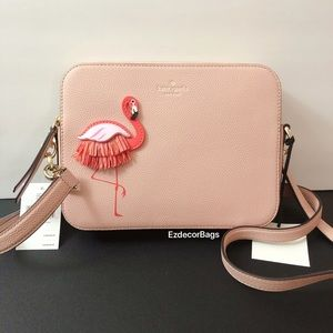 NWT Kate Spade Flamingo Leather Crossbody Bag